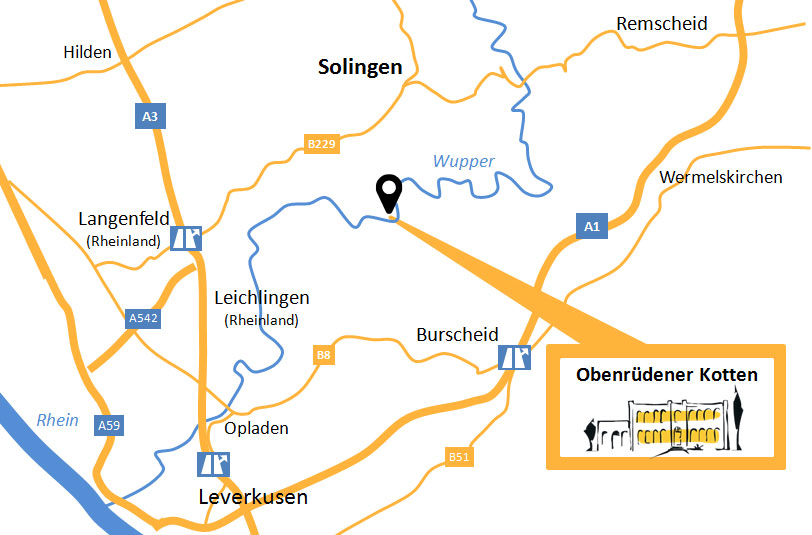 Lageplan Obenrüdener Kotten: Autobahnen