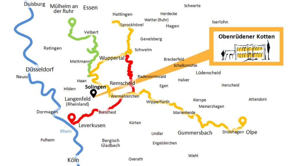 Radwege im Bergischen Land: Wegenetz